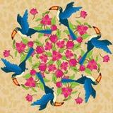 Vectormandala met vogels en bloemen Stock Foto
