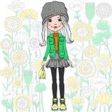 Vectormanier hipster meisje Stock Fotografie