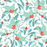 Vectormaretak Holly Berries Blue Red Seamless Royalty-vrije Stock Afbeelding