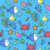 Vectormarine seamless pattern Stock Afbeelding