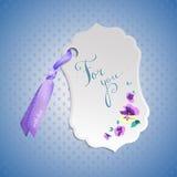 Vectormarkering met bloemen en realistisch lint royalty-vrije illustratie