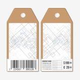 Vectormarkeringenontwerp aan beide kanten, de etiketten van de kartonverkoop met streepjescode abstracte achtergrond Technische b Royalty-vrije Stock Foto
