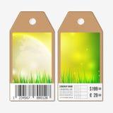 Vectormarkeringenontwerp aan beide kanten, de etiketten van de kartonverkoop met streepjescode De achtergrond van de lente Stock Foto's
