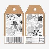Vectormarkeringenontwerp aan beide kanten, de etiketten van de kartonverkoop met streepjescode Hand getrokken bloemenkrabbelpatro royalty-vrije illustratie