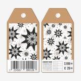 Vectormarkeringenontwerp aan beide kanten, de etiketten van de kartonverkoop met streepjescode Hand getrokken bloemenkrabbelpatro stock illustratie