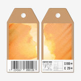 Vectormarkeringenontwerp aan beide kanten, de etiketten van de kartonverkoop met streepjescode Het houden van paar het kussen bij Royalty-vrije Stock Afbeelding