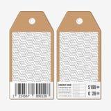 Vectormarkeringenontwerp aan beide kanten, de etiketten van de kartonverkoop met streepjescode Het terugkomen kubussen Geometrisc Stock Foto's