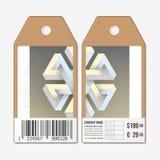 Vectormarkeringenontwerp aan beide kanten, de etiketten van de kartonverkoop met streepjescode Onwerkelijk onmogelijk geometrisch Royalty-vrije Stock Afbeelding