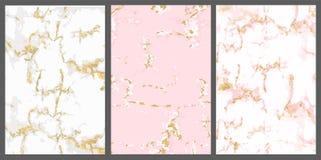 Vectormarmer met roze gouden achtergrond Wit nam met gouden barst toe De achtergrond voor nodigt kaart uit royalty-vrije illustratie