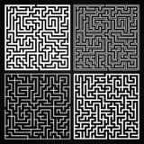 Vectormaze set Labyrint met Ingang en Uitgang Royalty-vrije Stock Afbeelding