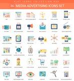 Vectormedia die reeks van het kleuren de vlakke pictogram adverteren Elegant stijlontwerp Stock Afbeelding