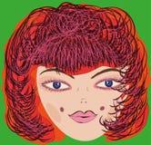 Vectormeisje één groot hoofd Vectormeisje één groot hoofd Royalty-vrije Stock Afbeeldingen