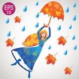 Vectormeisje die met paraplu, bladeren en waterdalingen vliegen Dorothy Oz royalty-vrije illustratie