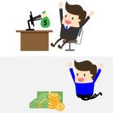Vectormens en geld Stock Foto's