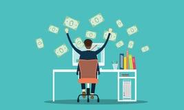 Vectormensen die zaken verdienen die online achtergrond op de markt brengen vector illustratie