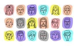 Vectormensenavatars, Grappige gezichten van mannen en vrouwen Krabbelportretten van mensen, Hand-drawn in meisjes en jongens royalty-vrije illustratie