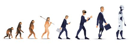 Vectormensenevolutie van aap aan robot royalty-vrije illustratie