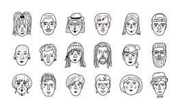 Vectormensengezichten, Grappige krabbelavatars Hand-drawn portretten modieuze meisjes en kerels Kleurend boek, Vector stock illustratie