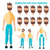 Vectormensenkarakter voor uw animatie en spelontwerp Zie Emoties onder ogen stock foto