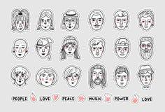 Vectormensenstickers, mensenavatars flarden, grappige gezichten van mannen en vrouwen Krabbelportretten van mensen Hand-drawn stock illustratie