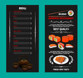 Vectormenu van Japanse restaurant of sushibar royalty-vrije illustratie