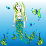 Vectormermaid ilustracje Obraz Royalty Free