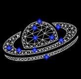 Vectormesh saturn planet icon met Blauwe Diamanten stock illustratie