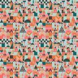 Vectormidden van de eeuw modern minimalistic dorp in de kleur van Pantone van het jaar naadloze patroon royalty-vrije illustratie
