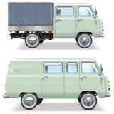 Vectorminivan-autobestelwagen Stock Afbeeldingen