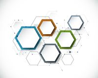 Vectormolecule met 3D document etiket, geïntegreerde Hexagon backgrou royalty-vrije illustratie