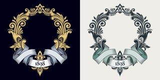 Vectormonogram en initialen Gouden decoratief kader Retro lint De uitnodiging van het huwelijk Elegante lijnen van kalligrafisch  vector illustratie