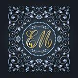 Vectormonogram en initialen Zilveren decoratief kader Brief E, M De uitnodiging van het huwelijk Elegante lijnen van kalligrafisc stock illustratie