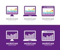 Vectormuziek en telefoonembleemcombinatie Equaliser en mobiel symbool of pictogram Stock Fotografie