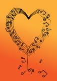 Vectormuzieknota over hart Stock Fotografie