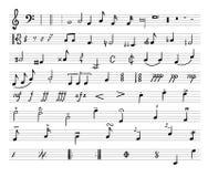 Vectormuzieknota's, Getrokken Illustratie, Muzikaal Personeel en Verschillende Muzikale Symbolen stock illustratie