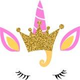 Vectorn jednorożec twarz z złocistą błyskotliwości koroną royalty ilustracja