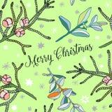 Vectornaaldboomtakjes, Kerstmis decoratieve naadloze patronen, groene aardachtergrond Royalty-vrije Stock Foto's