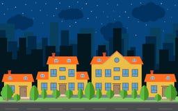 Vectornachtstad met beeldverhaalhuizen en gebouwen met groene bomen en struiken vector illustratie