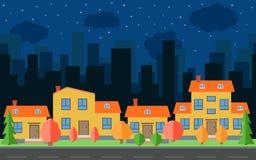 Vectornachtstad met beeldverhaalhuizen en gebouwen Stadsruimte met weg op vlak stijlconcept als achtergrond Royalty-vrije Stock Foto