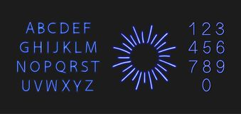 Vectorneon Blauwe Retro glanst Leeg Kader en Gloeiende die Doopvont, op Donkere Achtergrondontwerpelementen wordt geïsoleerd royalty-vrije illustratie