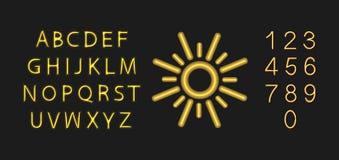 Vectorneon Sunny Font, Letters, Getallen en Zon Glanzend Pictogram dat op Donkere Achtergrond wordt geïsoleerd royalty-vrije illustratie