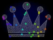 Vectornetwerk Mesh Crown met Regenboog Gekleurde Glansvlekken stock illustratie