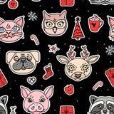 Vectornieuwjaar naadloos patroon het ontwerp van de Kerstmisvakantie Hand getrokken hoofdenherten, Franse buldog, kat, varken, ui vector illustratie