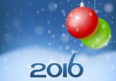 Vectornieuwjaarskaart 2016 Stock Afbeeldingen