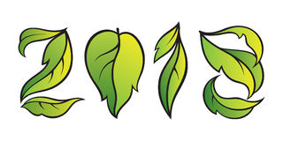 Vectornummer 2018 Ecostijl met gradiënt groene bladeren Calend Stock Illustratie