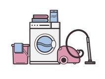 Vectorobjecten wasserij en huishouden Stock Foto