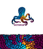 Vectoroctopus met een abstract ornament Royalty-vrije Stock Afbeeldingen