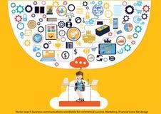 Vectoronderzoeks bedrijfsmededelingen wereldwijd voor commercieel succes Op de markt brengend, financieel pictogrammen vlak ontwe stock illustratie