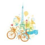 Vectorontwerp met de elementen van Parijs Stock Illustratie
