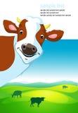 Vectorontwerp met koe en landschap Stock Fotografie